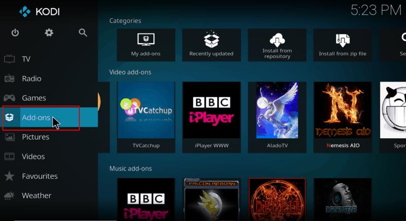 Select addons on menu Kodi's interface
