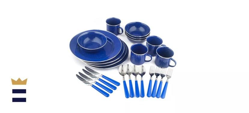 Stansport Deluxe 24-Piece Enamel Tableware Set