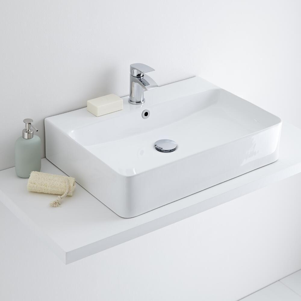 milano farington white modern rectangular countertop basin 600mm x 420mm 1 tap hole