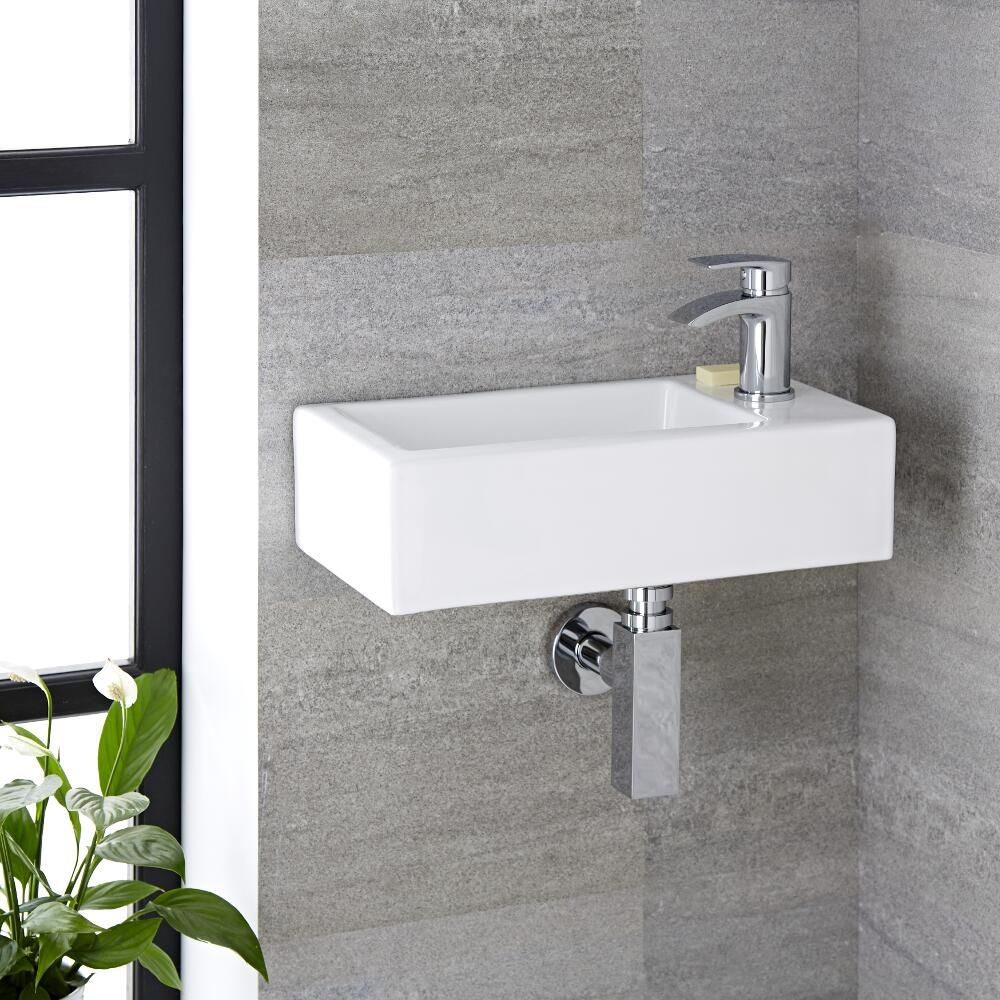 milano elswick white modern rectangular wall hung basin 450mm x 250mm 1 tap hole