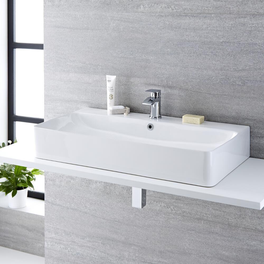milano farington white modern rectangular countertop basin 800mm x 415mm 1 tap hole