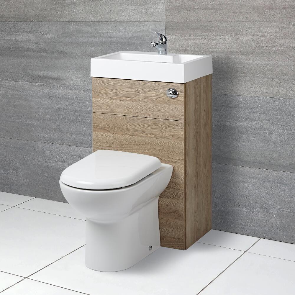 milano lurus oak modern select basin and toilet unit combination 500mm x 890mm