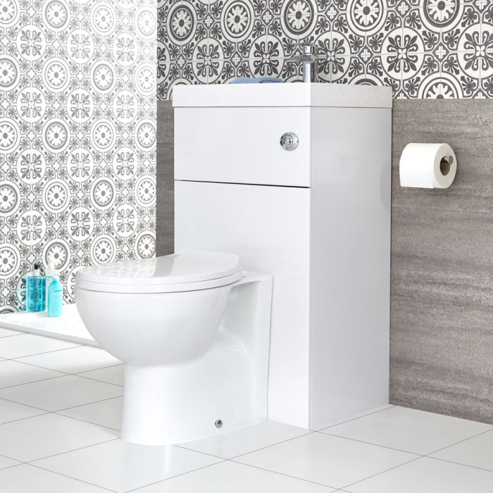 Milano Lurus White Modern Select Toilet And Basin Combination Unit 500mm X 890mm