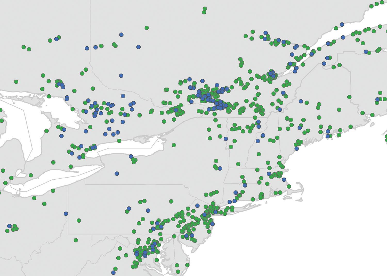 BirdNET app White-throated Sparrows Map