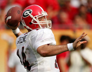 TAMPA, FL - JANUARY 1:  Georgia quarterback David Greene #14 throws a pass against Wisconsin at the Outback Bowl on January 1, 2005 at Raymond James Stadium in Tampa, Florida.  (Photo by Scott Halleran/Getty Images)