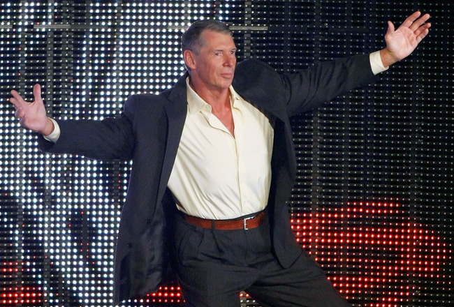 LAS VEGAS - AUGUST 24:  World Wrestling Entertainment Inc. Chairman Vince McMahon is introduced during the WWE Monday Night Raw show at the Thomas & Mack Center August 24, 2009 in Las Vegas, Nevada.  (Photo by Ethan Miller/Getty Images)