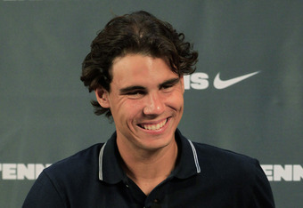 NEW YORK - SEPTEMBER 14:  Rafael Nadal of Spain, the 2010 U.S. Open Champion, during an appearance at Niketown on September 14, 2010 in New York City.  (Photo by Chris Trotman/Getty Images for ATP)