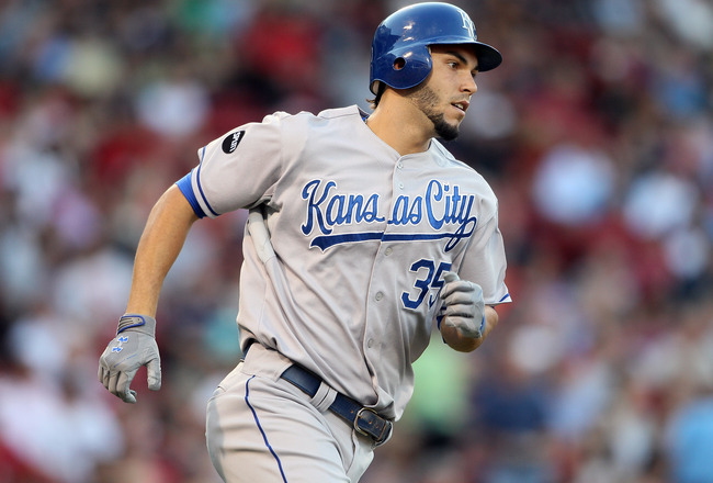 BOSTON, MA - JULY 27:  Eric Hosmer #35 of the Kansas City Royals rounds first base after he hit a three run homer in the first inning against the Boston Red Sox on July 27, 2011 at Fenway Park in Boston, Massachusetts.  (Photo by Elsa/Getty Images)