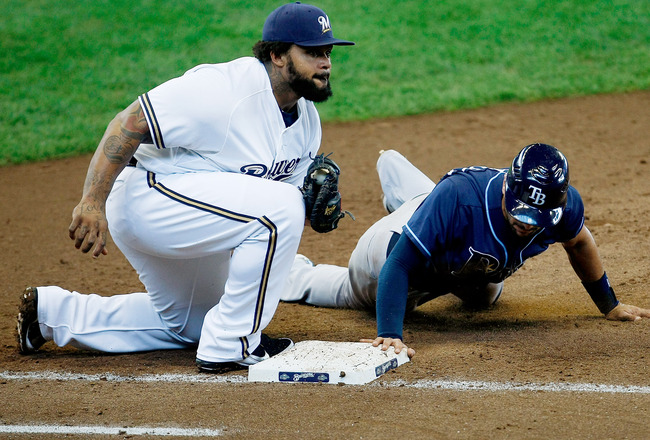 MILWAUKEE, WI - JUNE 22: Prince Fielder #28 of the Milwaukee Brewers tags out Sean Rodriguez #1 of the Tampa Bay Rays at Miller Park on June 22, 2011 in Milwaukee, Wisconsin. (Photo by Scott Boehm/Getty Images)