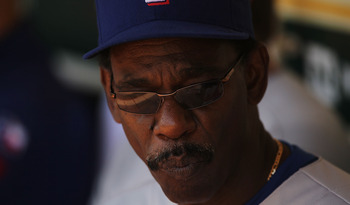 OAKLAND, CA - AUGUST 08:  Manager Ron Washington of the Texas Rangers looks on against the Oakland Athletics during an MLB game at the Oakland-Alameda County Coliseum on August 8, 2010 in Oakland, California.  (Photo by Jed Jacobsohn/Getty Images)