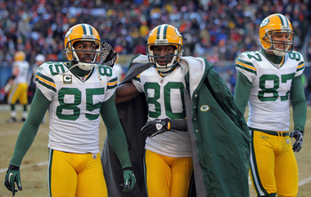 CHICAGO, IL - JANUARY 23:  Wide receivers Greg Jennings #85, Donald Driver #80 and Jordy Nelson #87 of the Green Bay Packers on their sideline agains tthe Chicago Bears in the NFC Championship Game at Soldier Field on January 23, 2011 in Chicago, Illinois