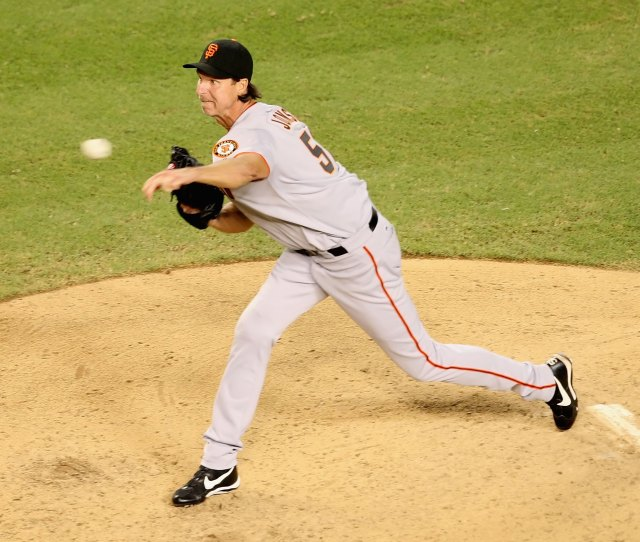 Phoenix September 22 Relief Pitcher Randy Johnson 51 Of The San Francisco Giants