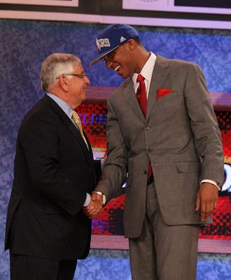 NEW YORK - JUNE 24:  Evan Turner of Ohio State stands with NBA Commisioner David Stern after being drafted second overall by  the Philadelphia 76ers at Madison Square Garden on June 24, 2010 in New York City.  NOTE TO USER: User expressly acknowledges and