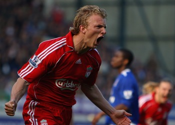 LIVERPOOL, UNITED KINGDOM - OCTOBER 20:  Dirk Kuyt of Liverpool celebrates scoring  the first goal from the penalty spot  during the Barclays Premier League match between Everton and Liverpool  at Goodison Park on October 20, 2007 in Liverpool, England.