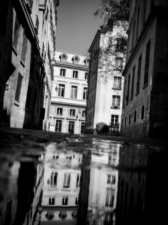 Buildings reflect in the water of a rain puddle in Paris, France.