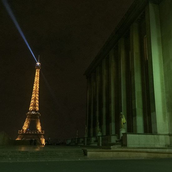 View of the Eiffel Tower from the Trocadéro in the 16th arrondissement of Paris, France.