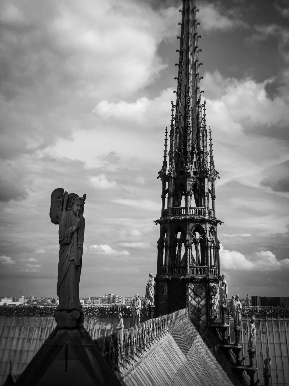 The spire on top of Notre-Dame Cathedral in Paris, France.