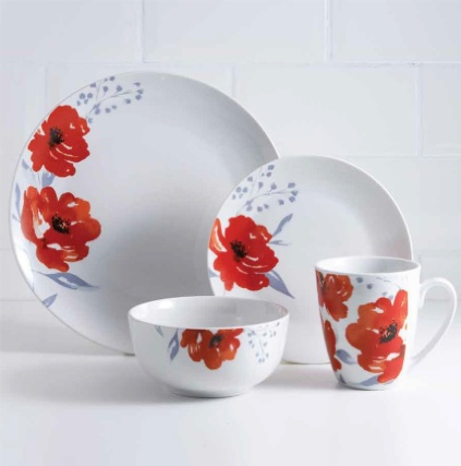 Karina Bailey Poppy Dinner Set 16pc Home Tableware