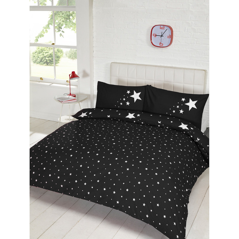 Glow In The Dark Double Duvet Set Black Bedding