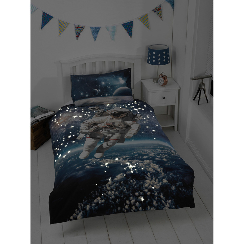 Kids Glow In The Dark Single Duvet Set Space Walker