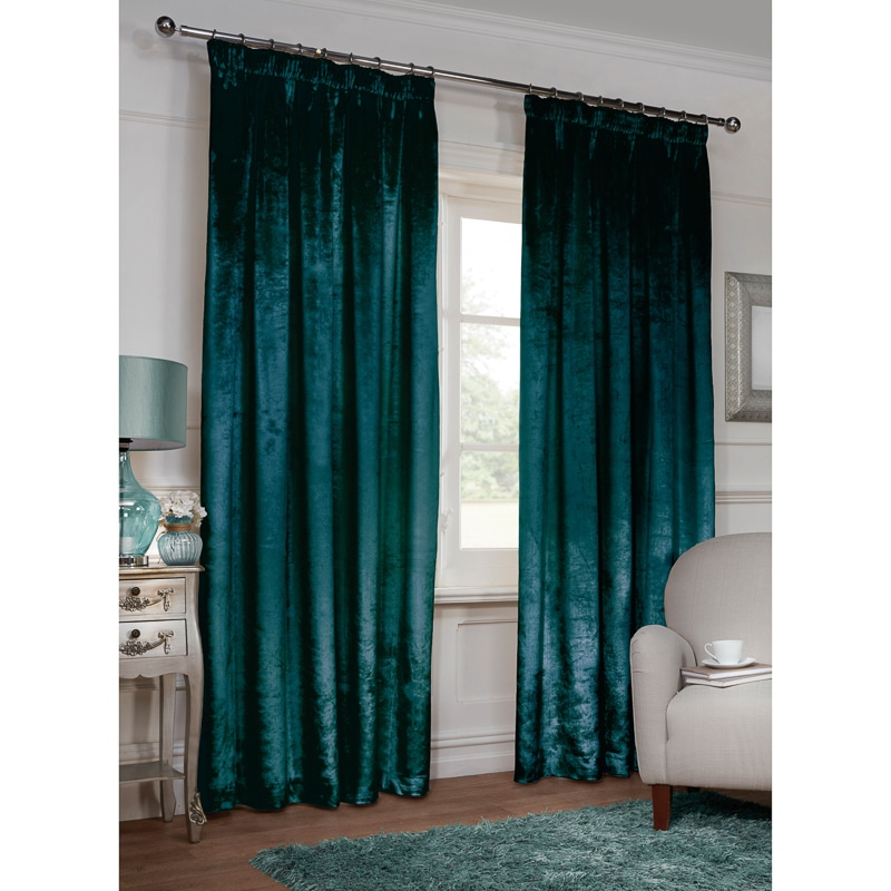 Versailles Crushed Velvet 3 Tape Fully Lined Curtain 66 X 72 BampM