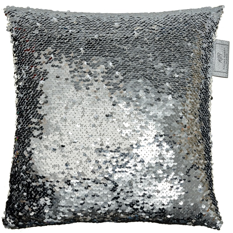 Reversible Sequin Cushion 30 X 30cm Silver Amp White
