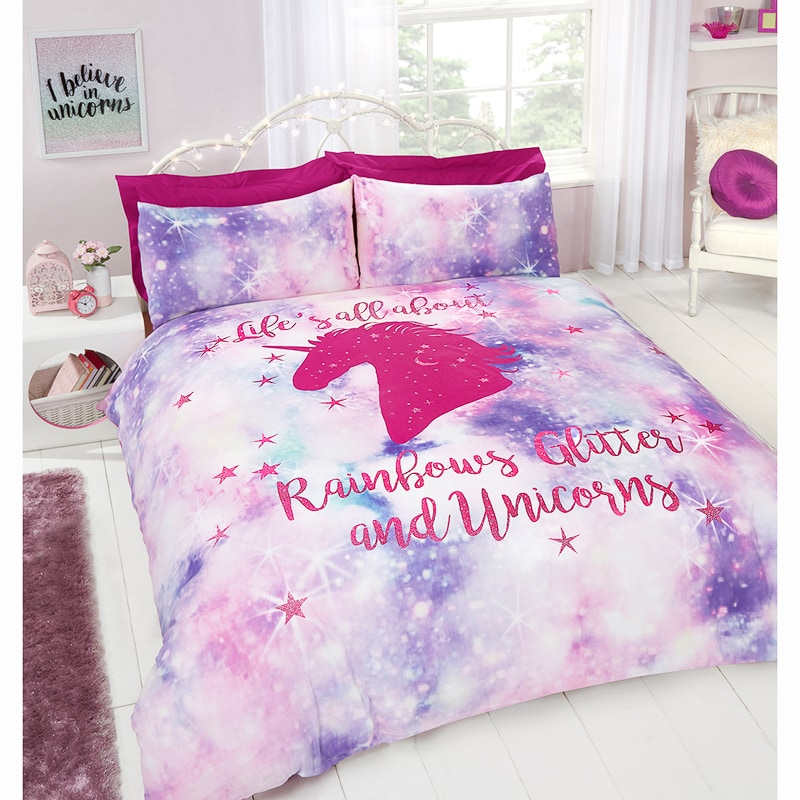 Rainbow Unicorn Double Duvet Set Bedding BampM