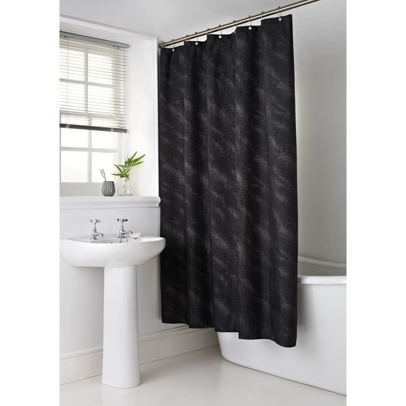 Sparkle Shower Curtain Black Bathroom BampM