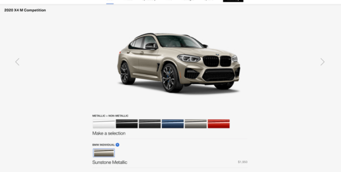 2020 BMW X4 M configurator 1 830x419