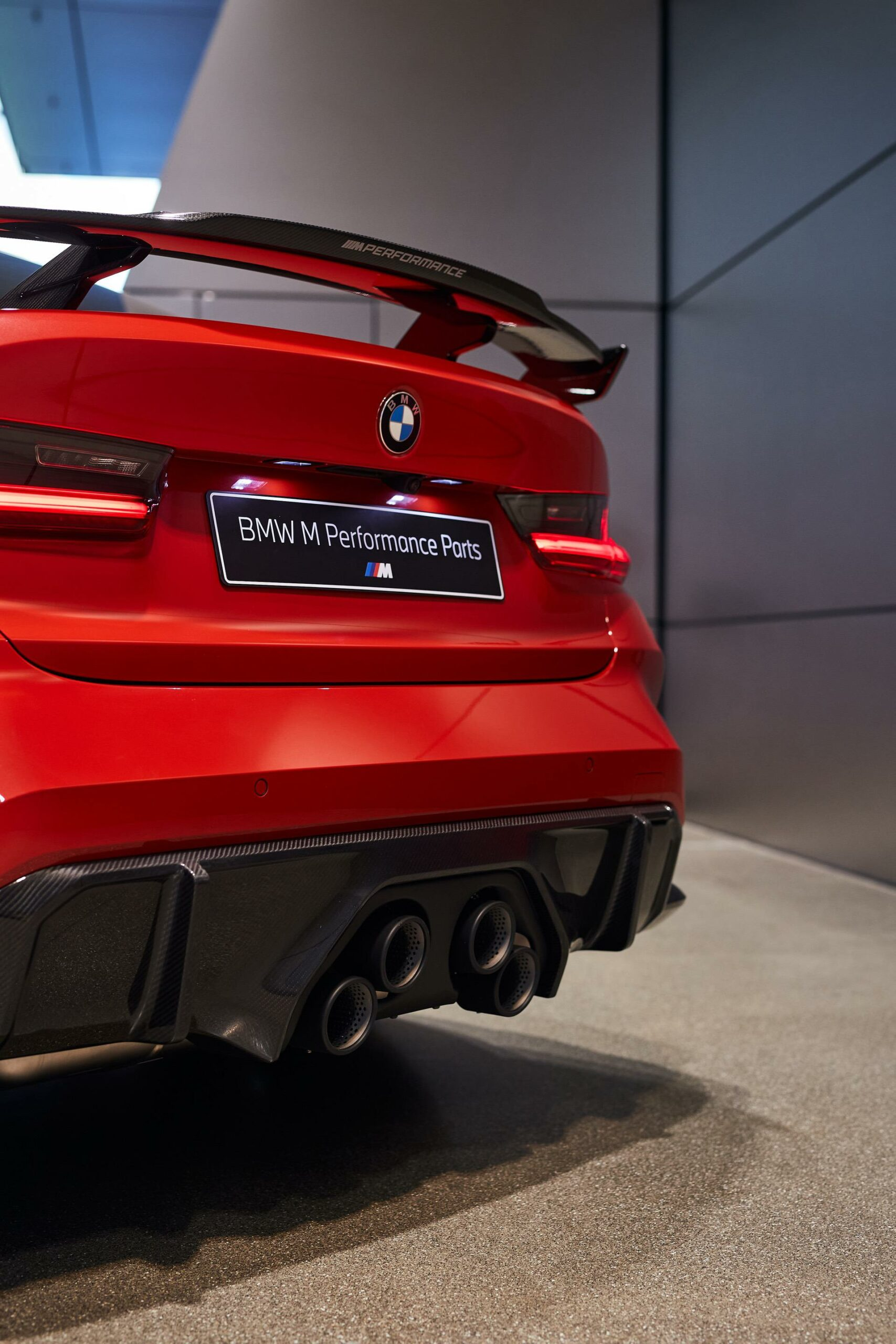 bmw m3 g80 with m performance parts displayed at the bmw welt