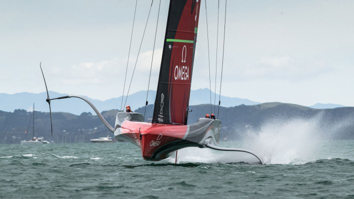An AC75 yacht racing at the 36th America's Cup