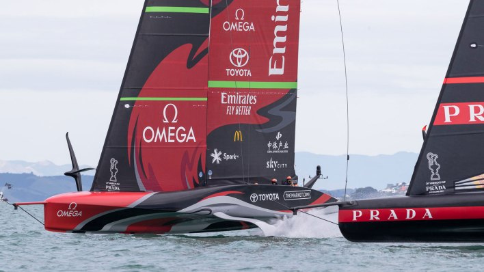 Emirates Team New Zealand racing at the 36th America's Cup