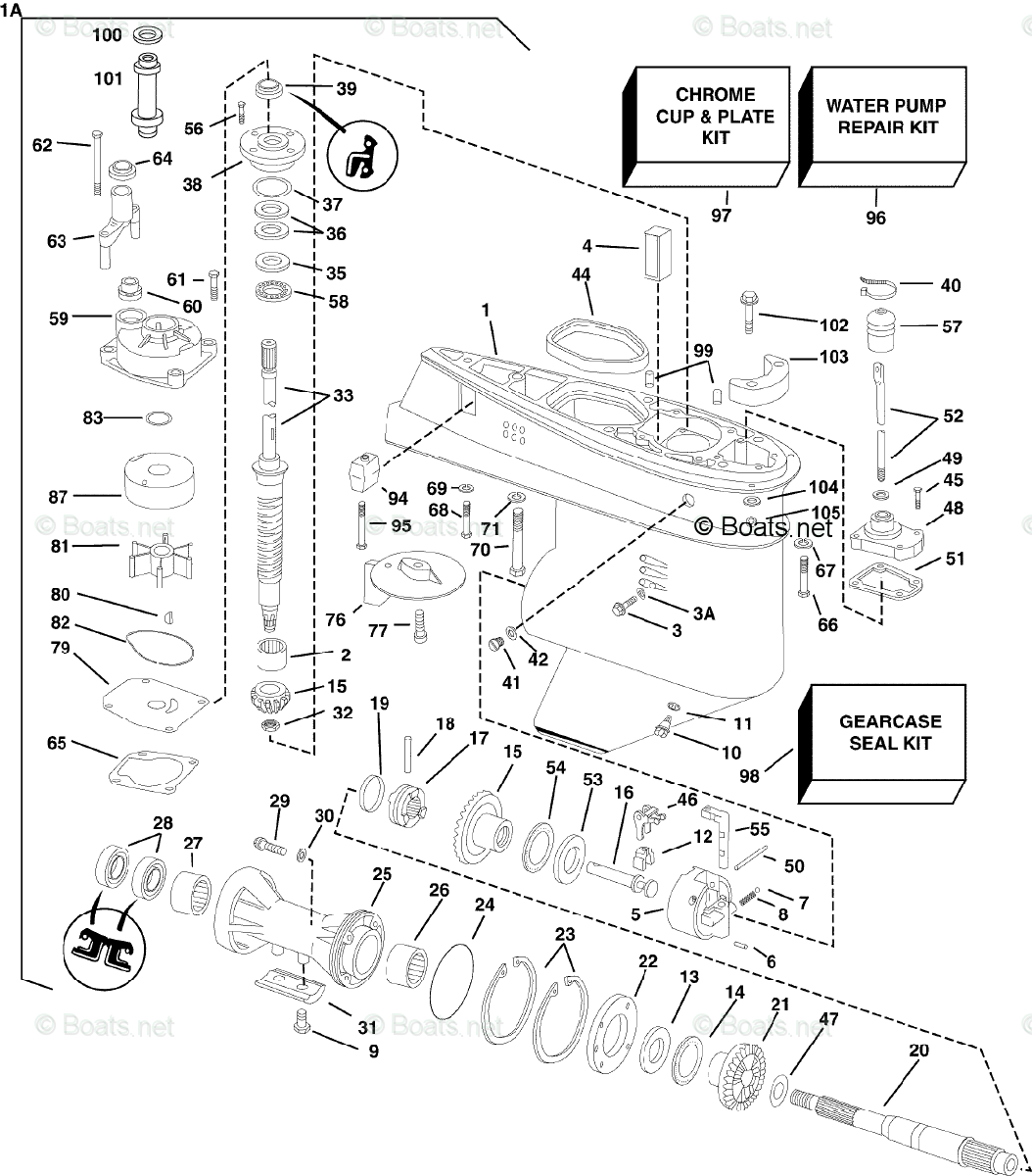 Evinrude Outboard Parts By Hp 50hp Oem Parts Diagram For Gearcase