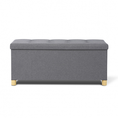 banc coffre avec pieds en bois 100 x 38 x 43 cm lin gris anthracite