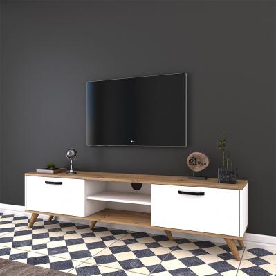 meuble tv a 2 portes 48 6 x 180 x 35 cm noyer clair blanc