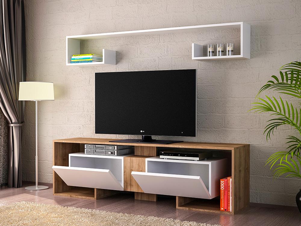 meuble tv 2 portes 140 cm chene blanc