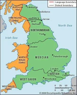 The distribution of Old English dialects.