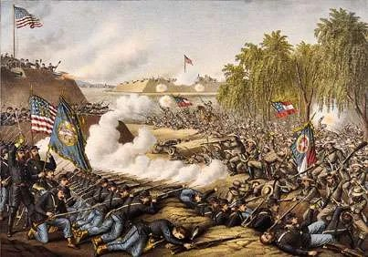Battle of Corinth, Mississippi, October 3–4, 1862, colour lithograph.