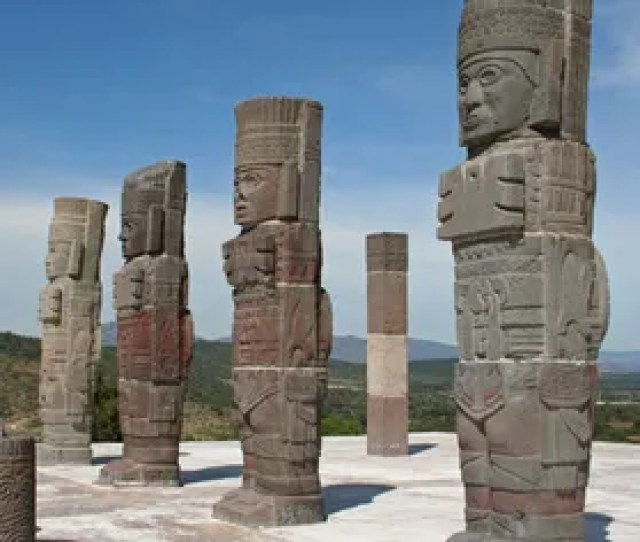 Mesoamerican Civilization Four Statues Carved As Human Figures Each   Metres Tall From The Tula Grande