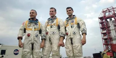 Apollo 1 crew—(left to right) Virgil I. Grissom, Edward H. White II, and Roger B. Chaffee—during training in Florida. On January 27, 1967, the crew was killed when a fire erupted in their capsule during testing.