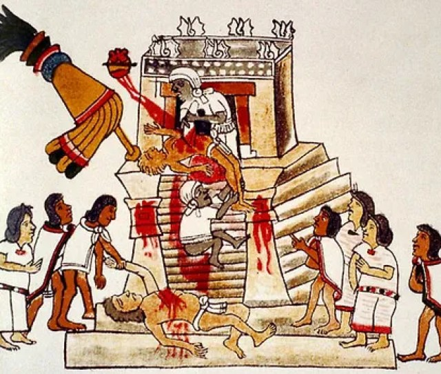 An Illustration From A Reproduction Of The Codex Magliabecchi Depicting An Aztec Priest Performing A Sacrificial