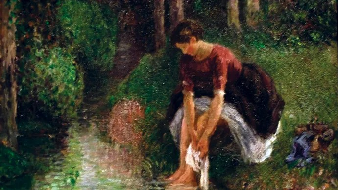 Pissarro, Camille: Woman Washing Her Feet in a Brook