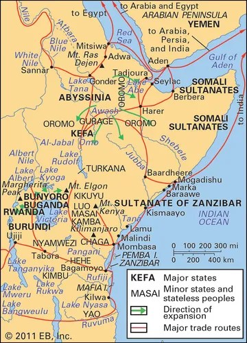 eastern Africa: major states, peoples, and trade routes c. 1850