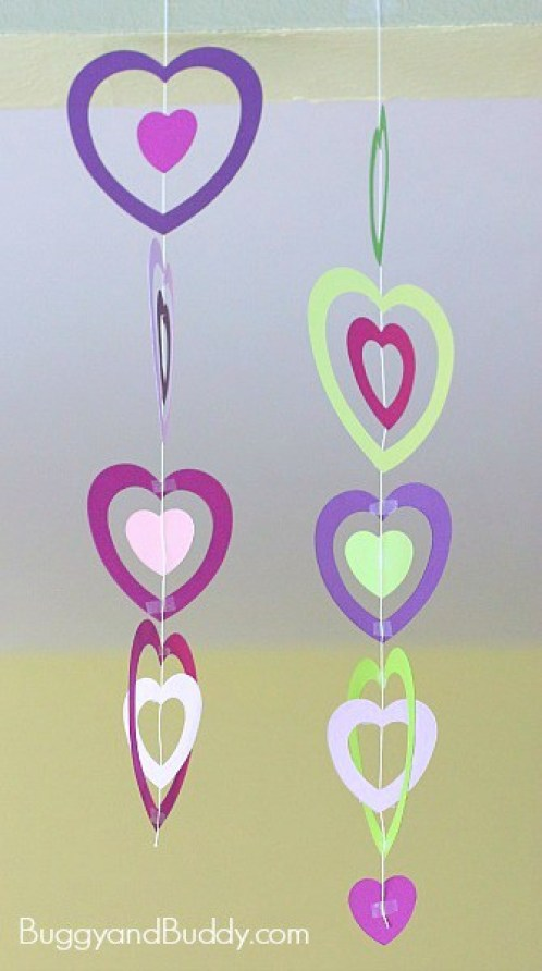 crafts for kids with paper, easy DIY craft ideas for kids, easy paper crafts for kids, DIY craft ideas Valentine Crafts for Kids: Paper Heart Mobile~ BuggyandBuddy.com