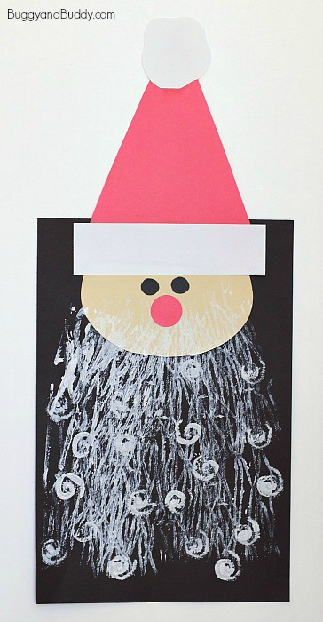 Santa Craft for Kids with Printed Beards | Buggy and Buddy - Super fun Santa craft for kids: Use yarn and rolling pin to make his beard! ~ BuggyandBuddy.com