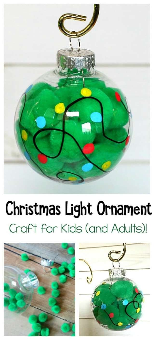Christmas Light Ornament Craft for Kids Using pom poms