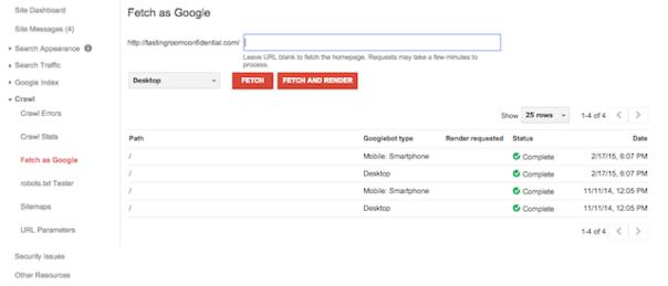 webmaster tools fetch as google