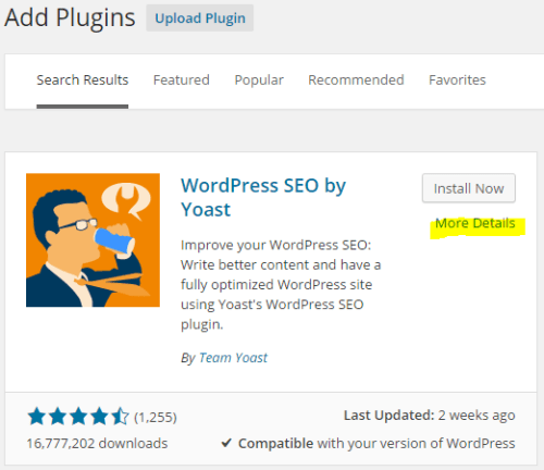 WordPress plugin more details