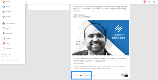 Google+ Blog Promotion Example