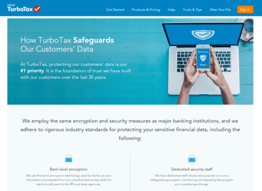 Landing page ideas trust signals security TurboTax data privacy